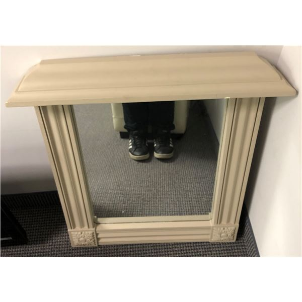 Wood framed decorative wall mirror - approx. 28in x 30in