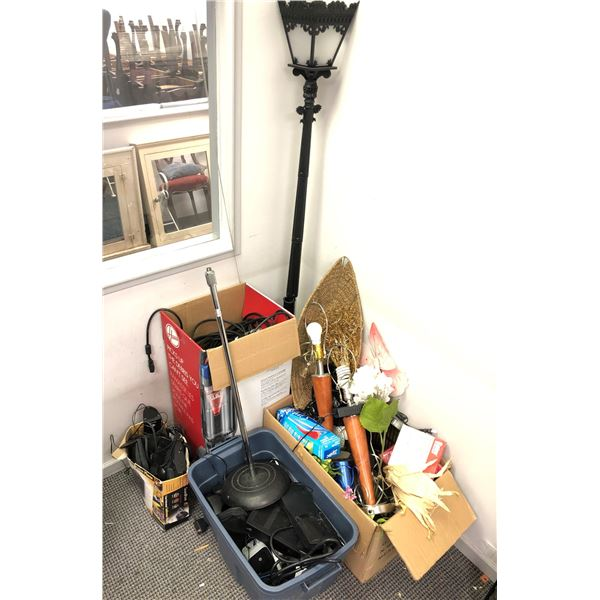 Large group of assorted misc. items - table lamp bases/ telephones/ electronics etc.