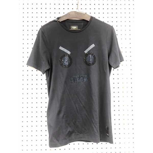 Fendi Roma Made in Italy face diamond t-shirt size 44 black - retail price $640