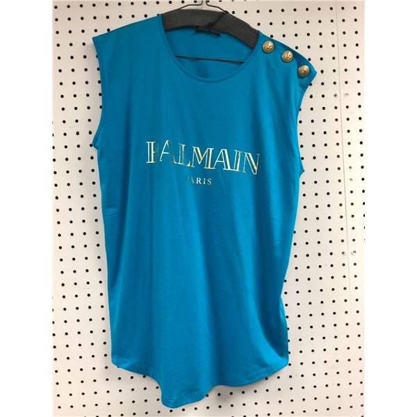Balmain Paris sleeveless top blue shirt size 42 - retail value $350