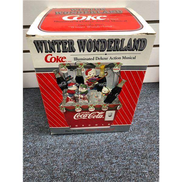 "Winter Wonderland Coke illuminated deluxe action musical plays the tune ""Winter Wonderland"" (new in"