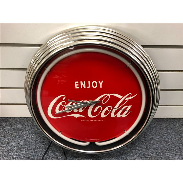 Enjoy Coca Cola neon lighted electric wall clock