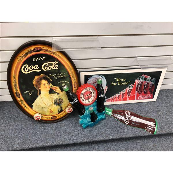 Group of 4 collectible Coca Cola memorabilia - wooden tray coat rack/ print on board Coca Cola boy/