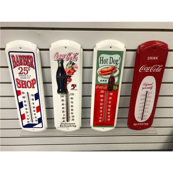 Group of 4 collectible tin thermometers - Barber Shop & 3 Coca Cola
