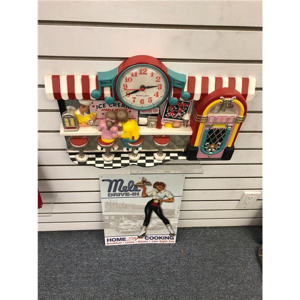 Nostalgic ice-creams & sodas & shakes wall clock & Mels drive-in tin advertisement sign
