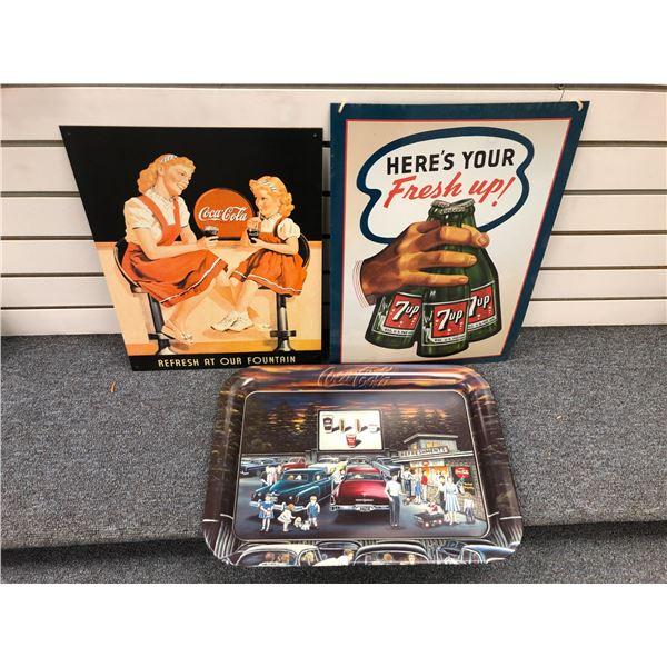 Group of 3 nostalgic tin collectibles - Coca Cola tray/ Coca Cola tin sign & 7-up tin sign