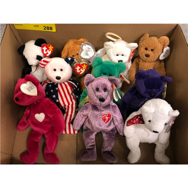 Group of 10 assorted TY beanie babies