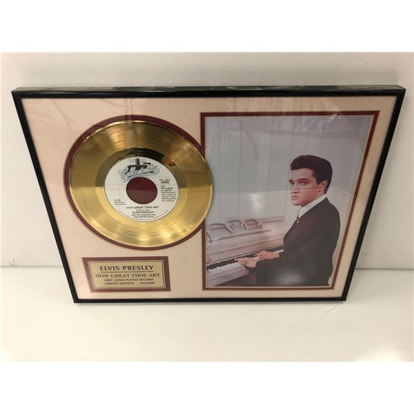 Framed Elvis Presley How Great Thou Art 24KT. Gold Plated Record limited edition #542/5000 - 16in x