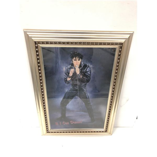 """Framed P. Gosselin Elvis Presley """"If I Can Dream"""" print signed by artist dated 7/27/2002 - 24in x 34"""