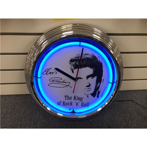 Elvis Presley The King of Rock 'n' Roll neon lighted wall clock