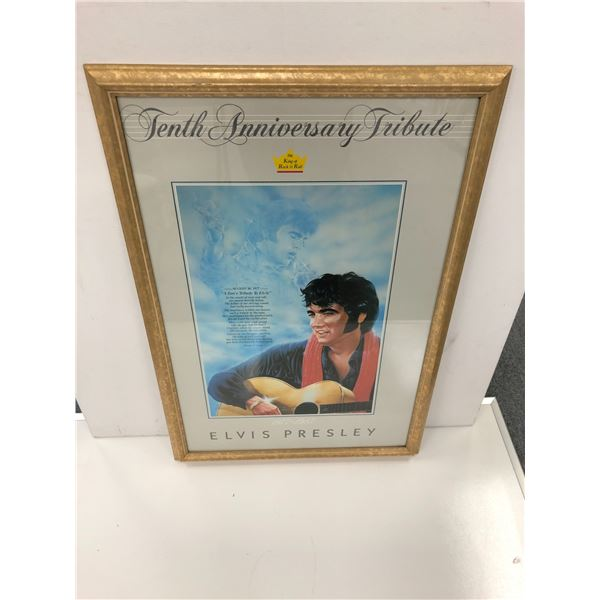 Tenth Anniversary Tribute the King of Rock & Roll 1977-1987 frame Elvis Presley print - 24 1/2in x 3