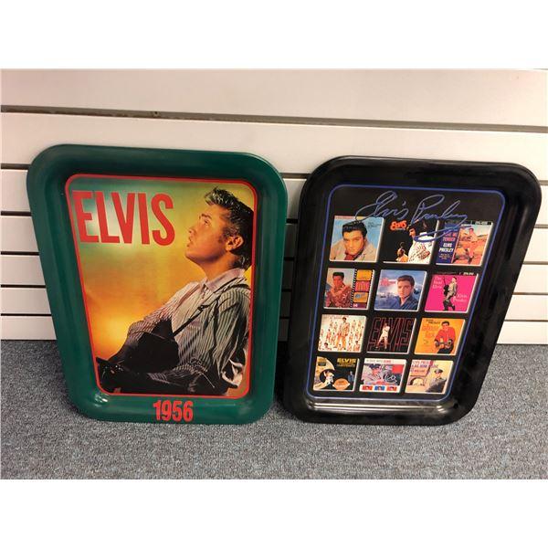 Two Elvis Presley metal drink serving trays