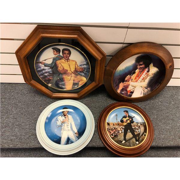 Group of 4 framed Elvis Presley collector's plates