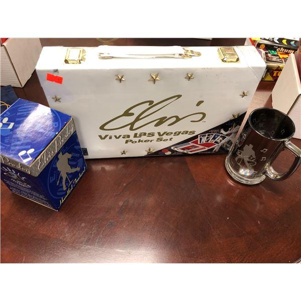 Elvis Presley Viva Las Vegas Poker Set (factory sealed) & Elvis Presley handled tankard