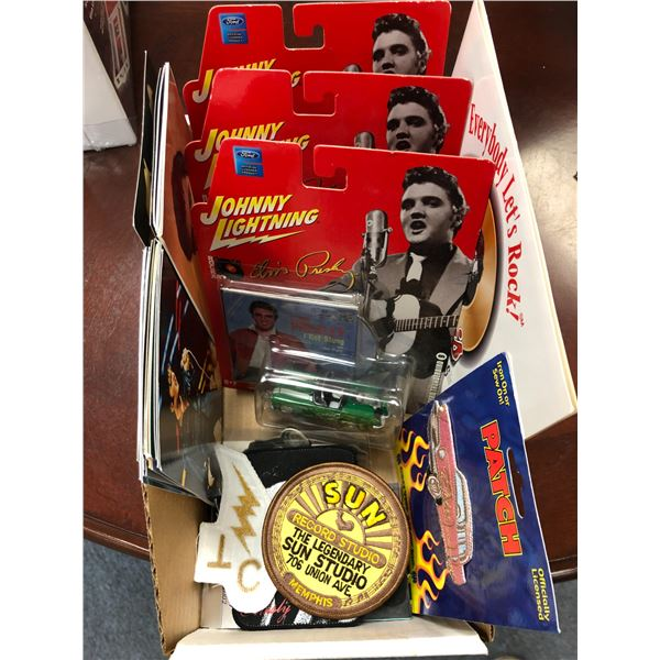 Box of assorted Elvis Presley memorabilia - die cast metal cars/ sew on patches/ post cards etc.