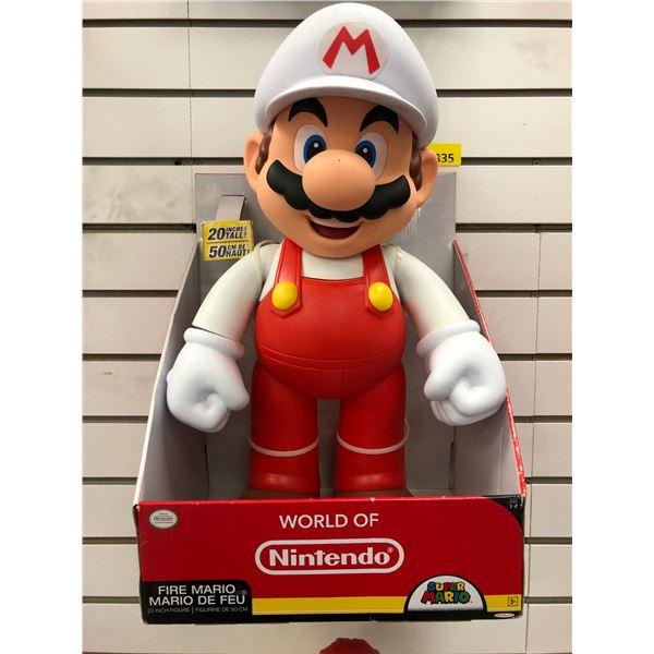World of Nintendo Super Mario 20in tall Fire Mario figure in original box