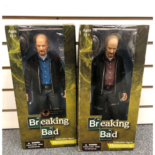 Two Breaking Bad Heisenberg collectible figurines - 13in Blue Shirt Grey Pants & 13in Burgundy Shirt
