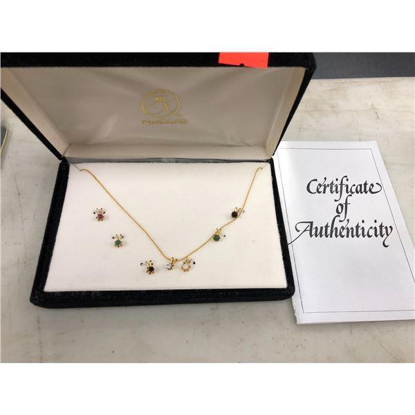 Gold necklace w/ 8 authentic gemstone pendants - comes w/ COA (all stones are genuine) - Diamond/ Ru