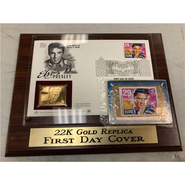 Elvis Presley 22K gold replica First Day Cover & metallic Elvis Presley promotional sample stamp car