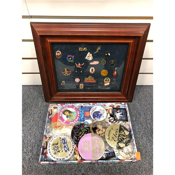 Framed Elvis Presley pin collection & box of assorted buttons