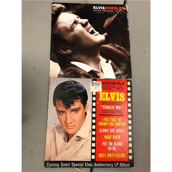 "Two Elvis Presley 45RPM records - Heartbreak Hotel & ""Tickle Me"""