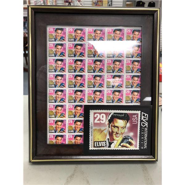 Framed Elvis Presley full sheet of collector's stamps