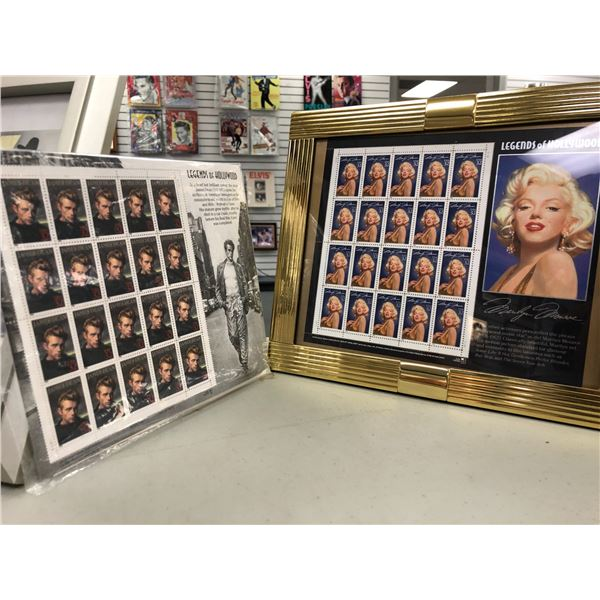 Full sheet of framed Marilyn Monroe collector's stamps & full sheet of James Dean collector's stamps