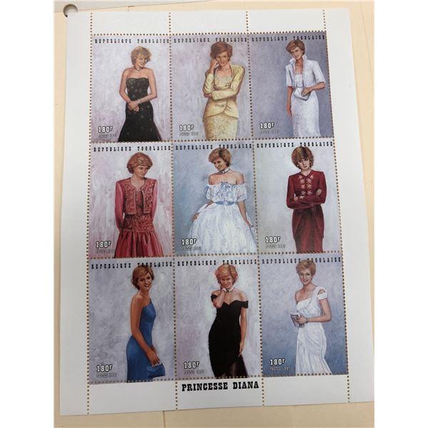 Sheet of 9 Princess Diana stamps