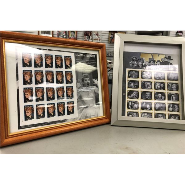 Framed Lucille Ball Legends of Hollywood full sheet of collector's stamps & Early TV Memories framed