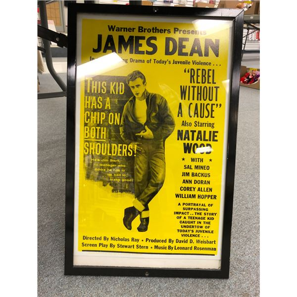 """Framed Warner Brothers Presents James Dean """"Rebel Without A Cause"""" movie advertisement"""