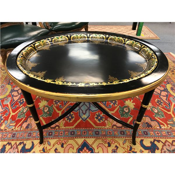 Early 1900's black & gold painted sitting room table