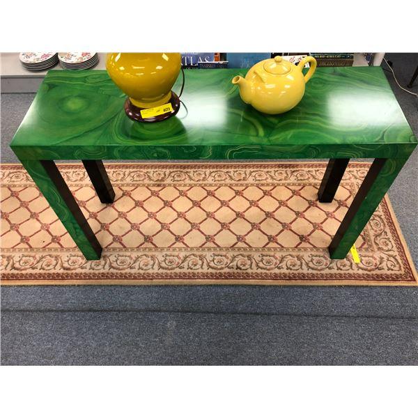 Designer green burl finish hall table