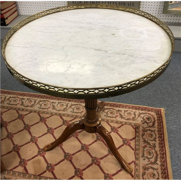 Antique round white marble top mahogany parlour table