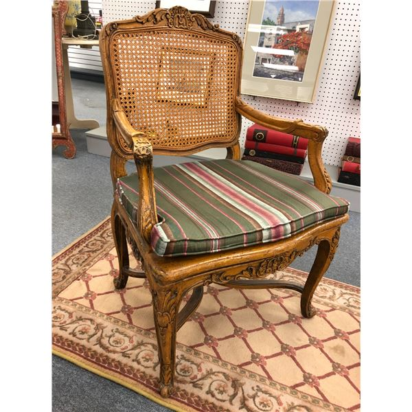 Antique claw foot w/ woven wicker seat & back rest sitting room arm chair