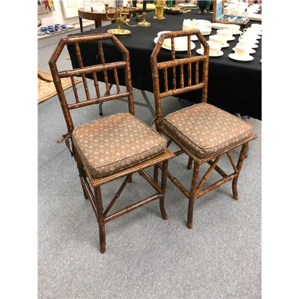 Pair of antique bamboo constructed side chairs