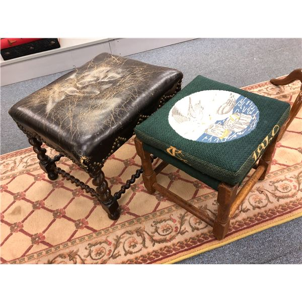Two antique foot stools - barley twist w/ brown leather upholstery & oak w/ nautical 1869 upholstere