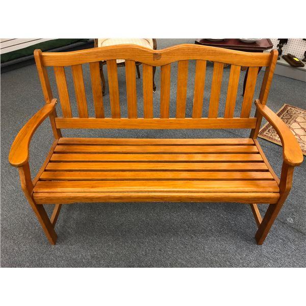 Wooden outdoor bench seat