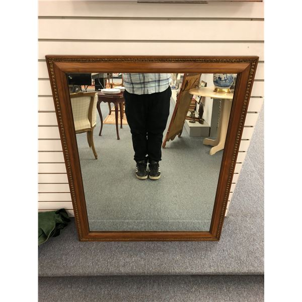 Wood framed decorative wall mirror - 32 1/2in across x 40 1/2in tall