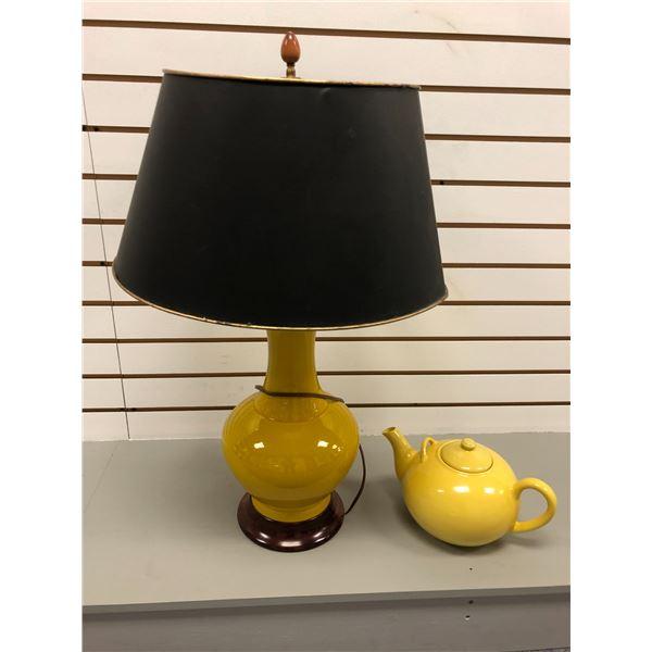 Bright yellow ceramic table lamp & yellow tea pot