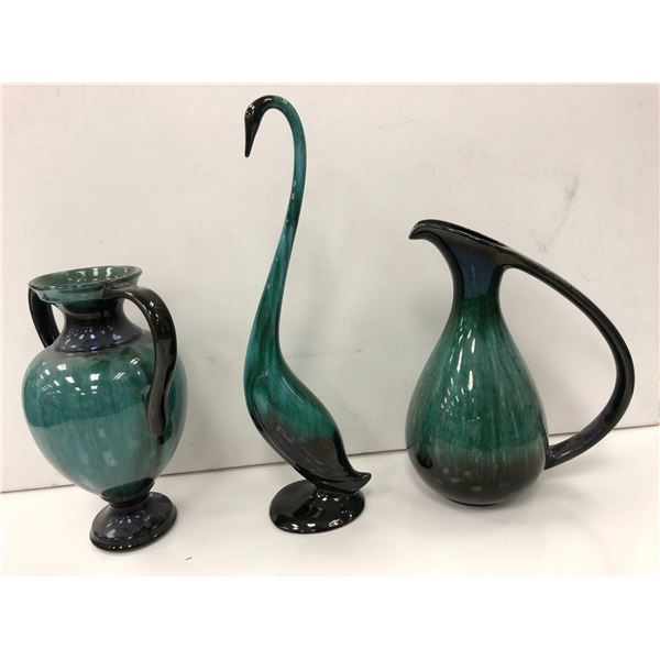 Group of 3 blue mountain pottery pieces