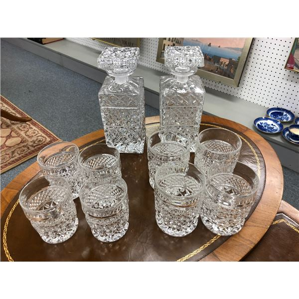 Twelve pc. Crystal liquor decanter & tumbler set