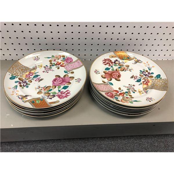 Group of 12 Vista Alegre Portugal Mottahedeh gold trimmed floral pattern plates vintage