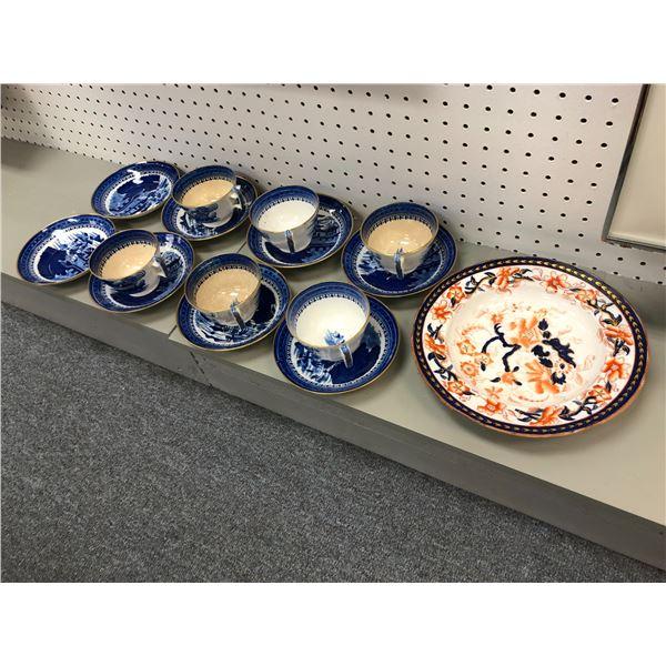 15 pcs. of antique oriental porcelain pottery pieces - cups & saucers & bowl