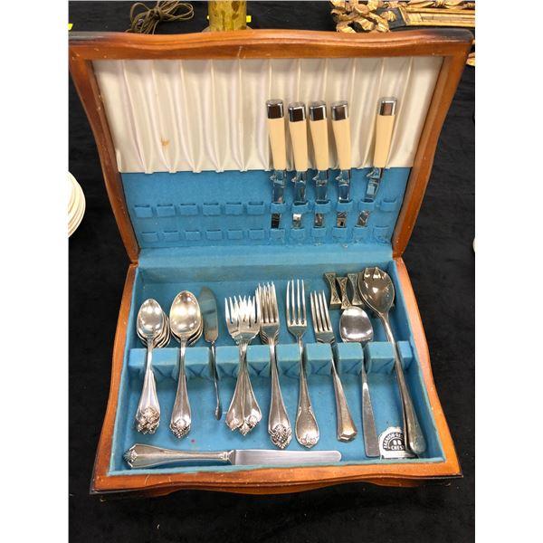 Cutlery box filled w/ assorted Oneida & Rojer's cutlery - 44 pcs.