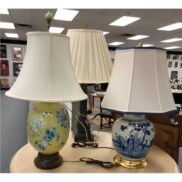 Group of 3 assorted table lamps
