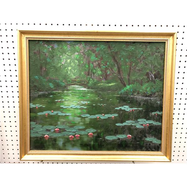 Framed original lily pads on pond by Vancouver artist Sai Hoi Ho - approx. 26in x 22 1/2in