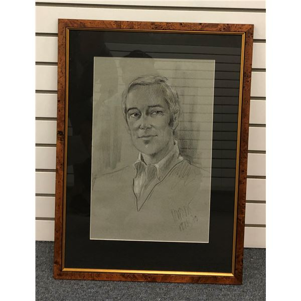 Framed original charcoal pencil sketch portrait of a man signed by artist, Paris 1970 - approx. 12in