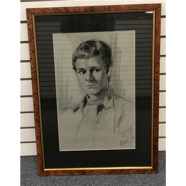 Framed original charcoal pencil sketch drawing, male portrait signed by artist Paris 1970