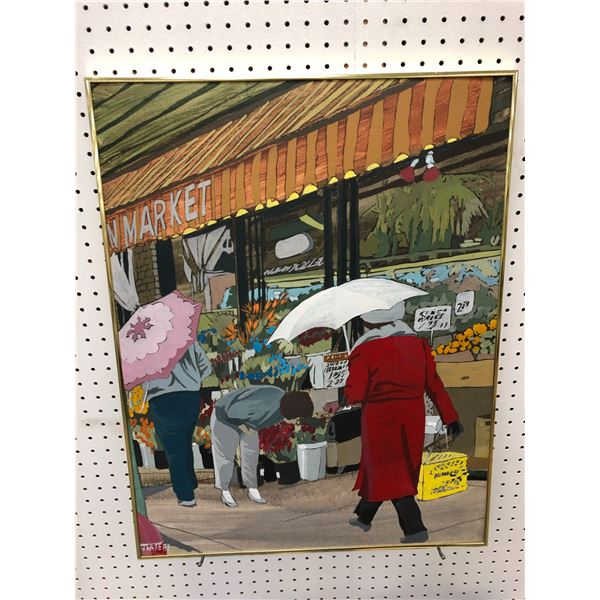 """Framed original oil on board painting """"Granville Market"""" by local Vancouver artist T.J.White 1987 -"""