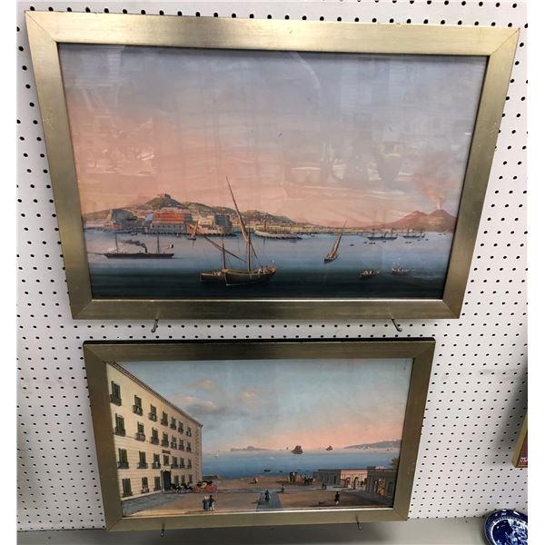 Pair of framed vintage Mediterranean port prints - each print measures approx. 27 1/2in x 18 1/2in